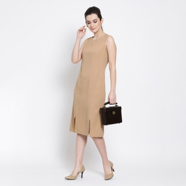 Buy Beige Long Dress With Slit At Bottom Work Wear For Women