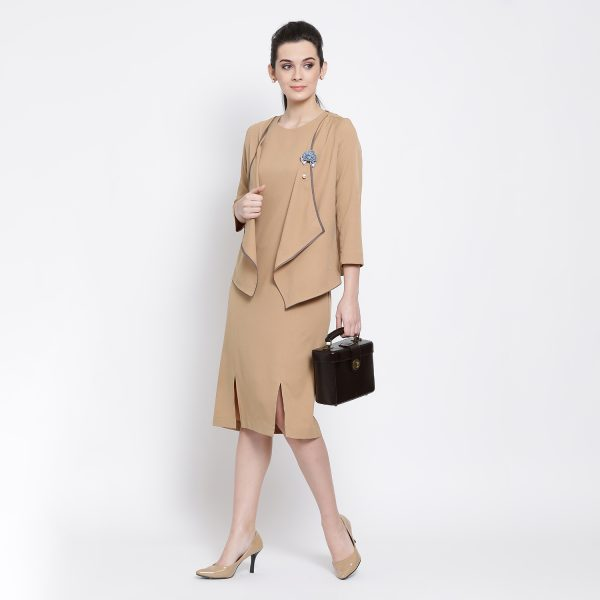 Buy Beige Jacket With Asymmetrical Bottom Western Formals For Women