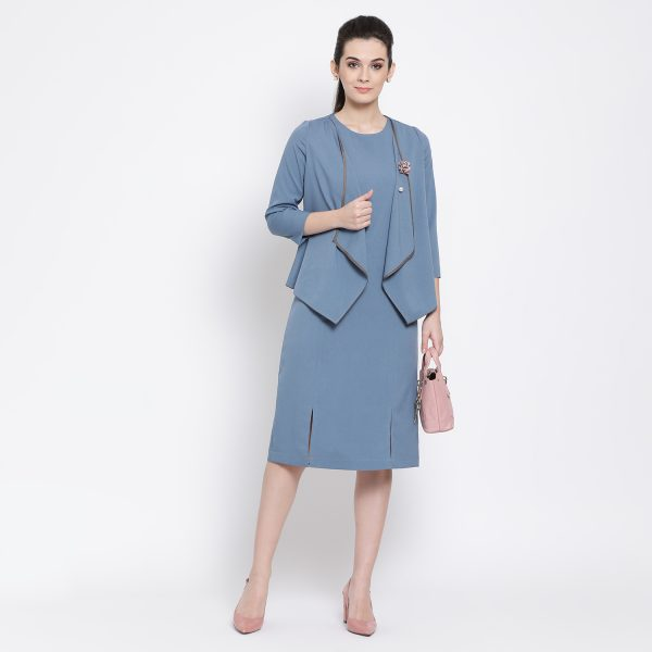 Buy Pastel Blue Jacket With Bottom Power Dressing For Women