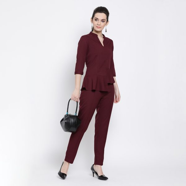 Buy Prune Peplum Top Work Wear For Women - Office & You
