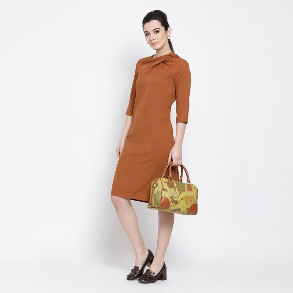 Buy Rust Long Dress With Drape At Neck Western Formals For Women