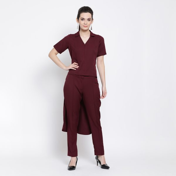 Buy Prune Asymmetric Shirt Work Wear For Women - Office & You