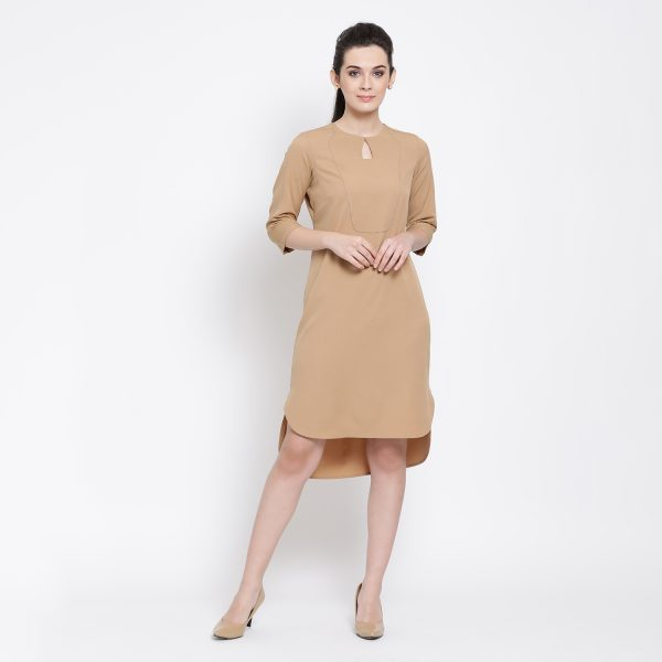 Buy Beige Tunic With Asymmetrical Bottom Western Formals For Women