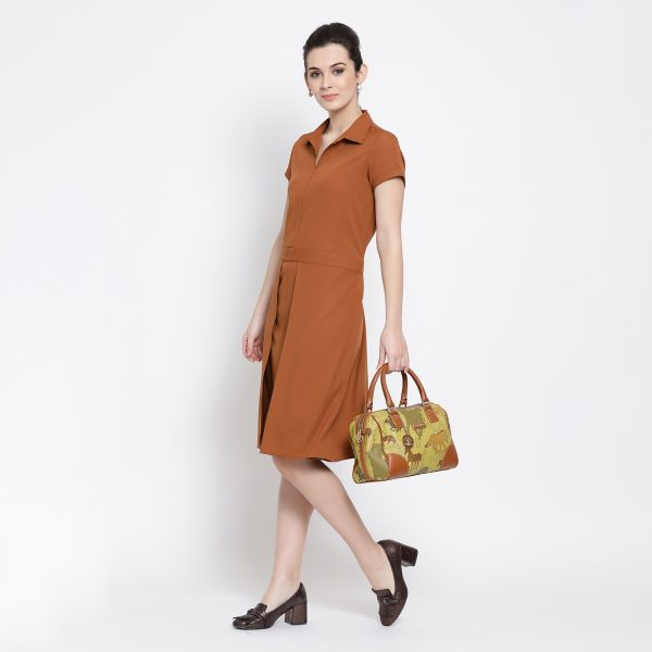 Buy Rust Dress With Flap At Waist Power Dressing For Women
