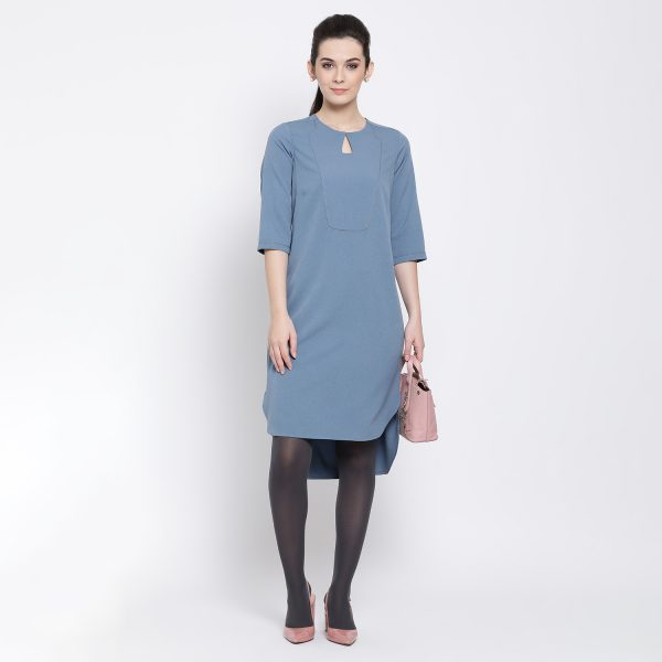 Buy Pastel Blue Tunic With Asymmetrical Bottom Office Wear For Women