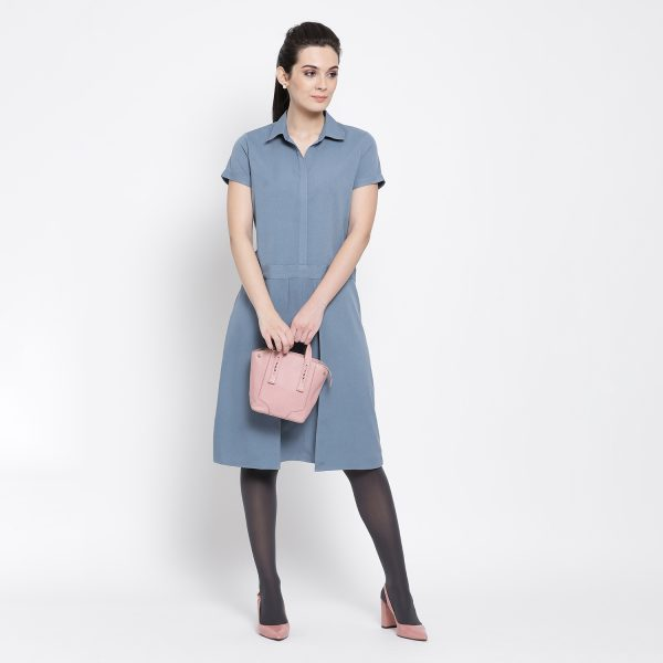 Buy Pastel Blue Dress With Flap At Waist Work Wear For Women