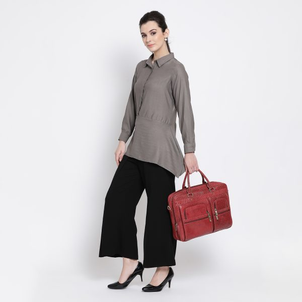 Buy Grey Shirt With Rectangular Hem Power Dressing For Women