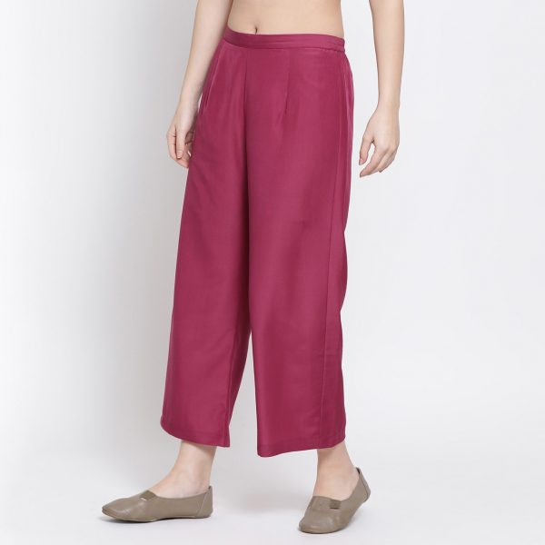 Buy Pink Straight Palazzo Office Wear For Women - Office & You