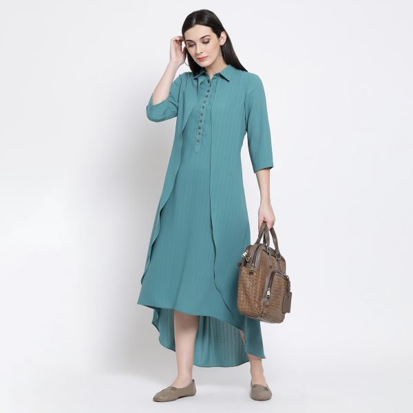 Buy Teal Blue Double Layer Long Dress Office Wear For Women