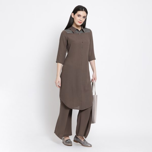 Buy Earth Brown Long Tunic With Blue Emb. Power Dressing For Women