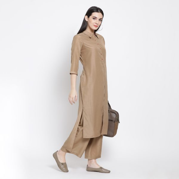 Buy Beige Peach Double Layer Long Dress Western Formals For Women