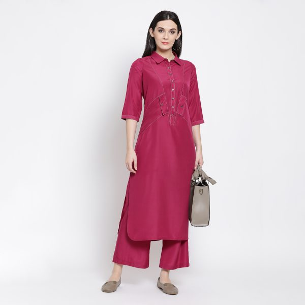 Buy Pink Long Shirt With Side Pocket Work Wear For Women