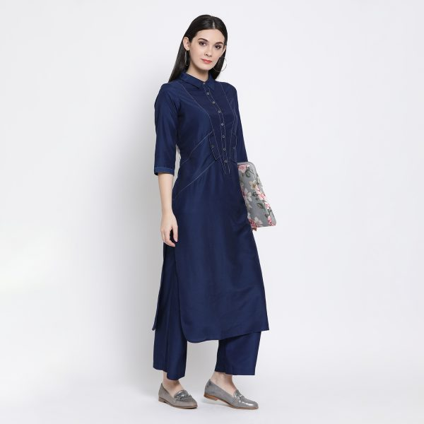 Buy Navy Blue Long Shirt With Side Pocket Western Formals For Women
