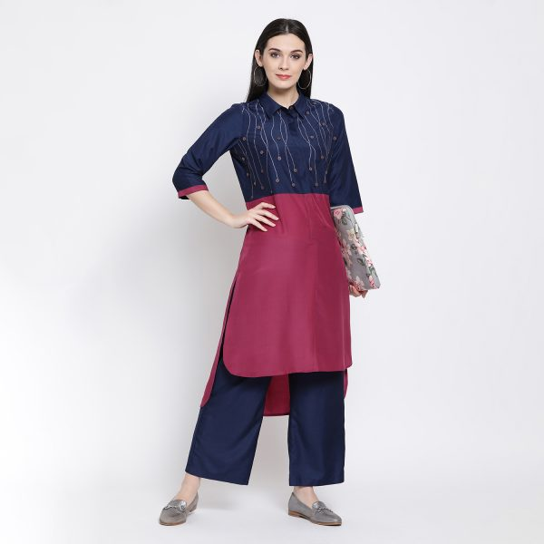 Buy Blue Pink Long Shirt With Button Emb. Power Dressing For Women