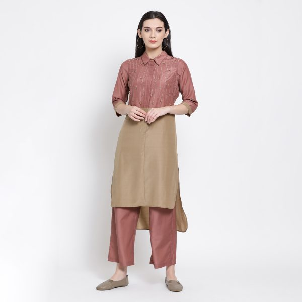 Buy Beige & Peach Long Shirt With Button Emb. Office Wear For Women
