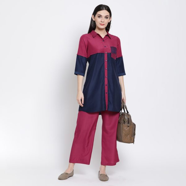 Buy Half In Half Blue Pink Tunic With Pocket Work Wear For Women