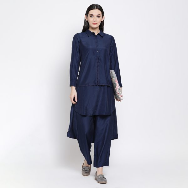 Buy Blue Double Layer Tunic With Lace Western Formals For Women