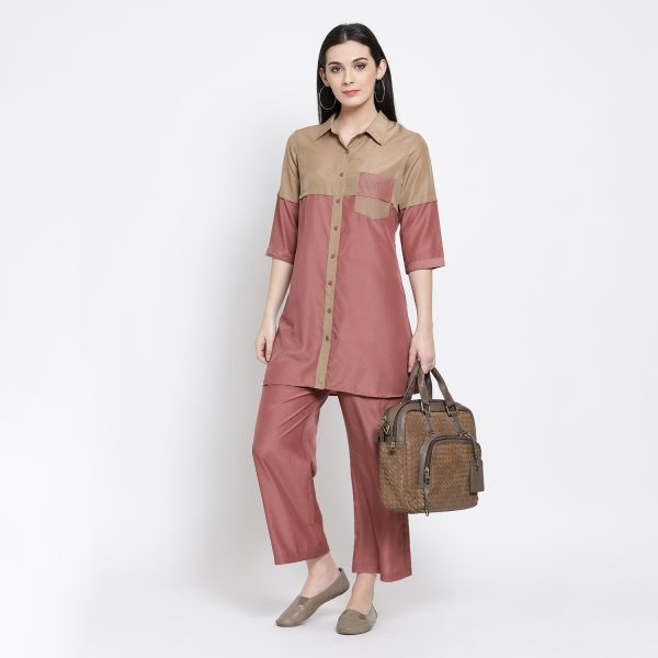 Buy Half in Half Beige Peach Tunic With Pocket Power Dressing