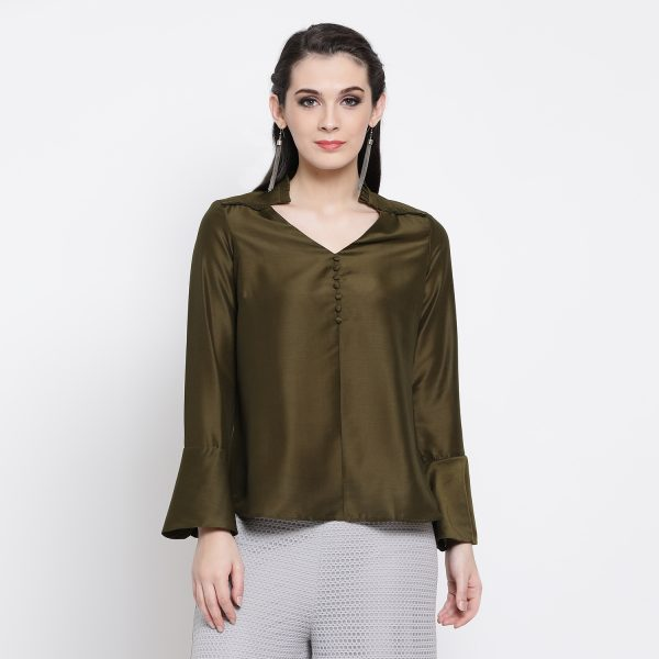 Buy Dark Olive Top With Frill Collar & Button Western Formals For Women