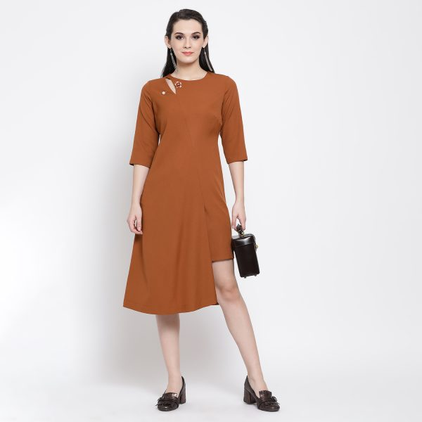 Buy Rust Long Dress With Keyhole Western Formals For Women