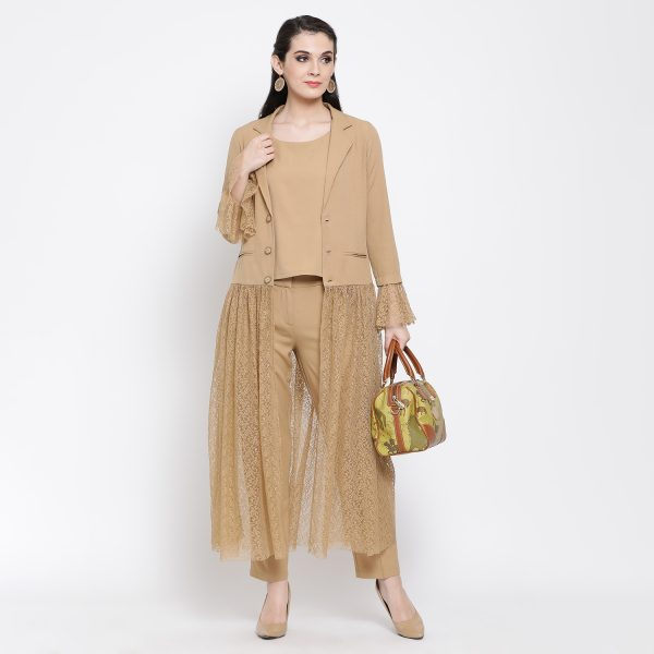 Buy Beige Flower Net Jacket Power Dressing For Women - Office & You
