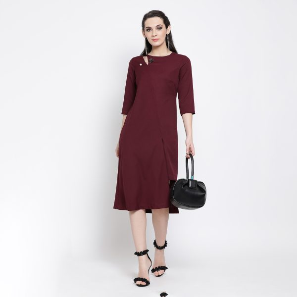 Buy Prune Long Dress With Keyhole Cut Western Formals For Women