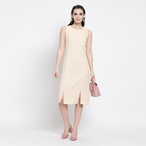 Buy Off White Silk Linen Dress With Slit Power Dressing For Women