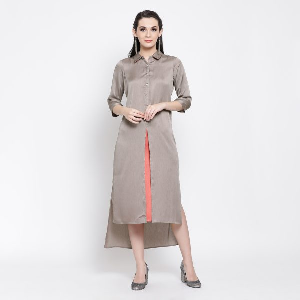 Buy Grey Peach Double Layer Long Dress Office Wear For Women