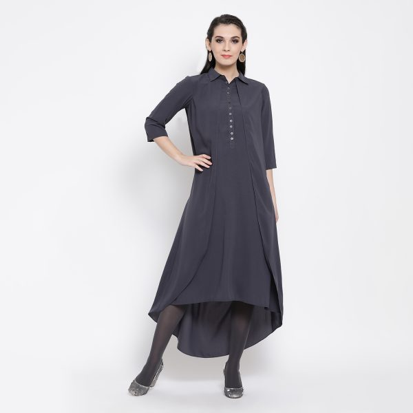 Buy Slate Blue Double Layer Long Dress Power Dressing For Women