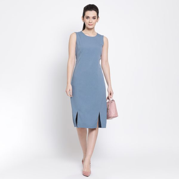 Buy Pastel Blue Long Dress With Slit At Bottom Office Wear For Women