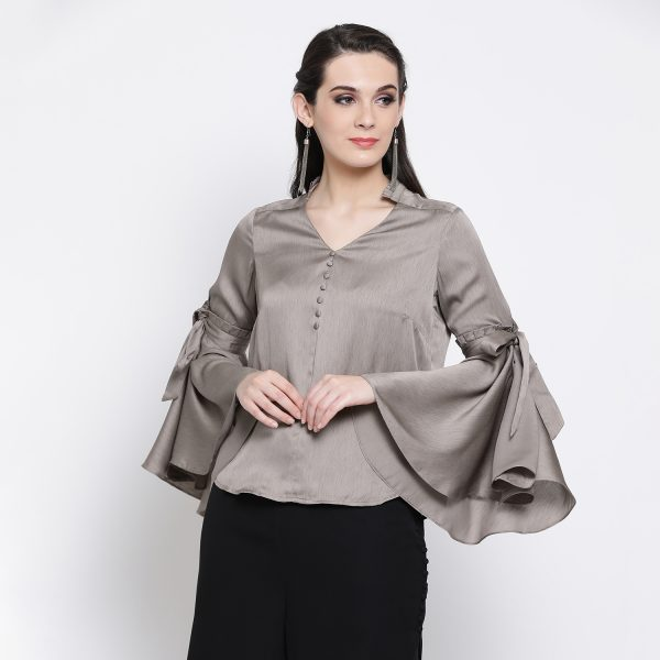 Buy Grey Top With Bell Sleeve Office Wear For Women - Office & You