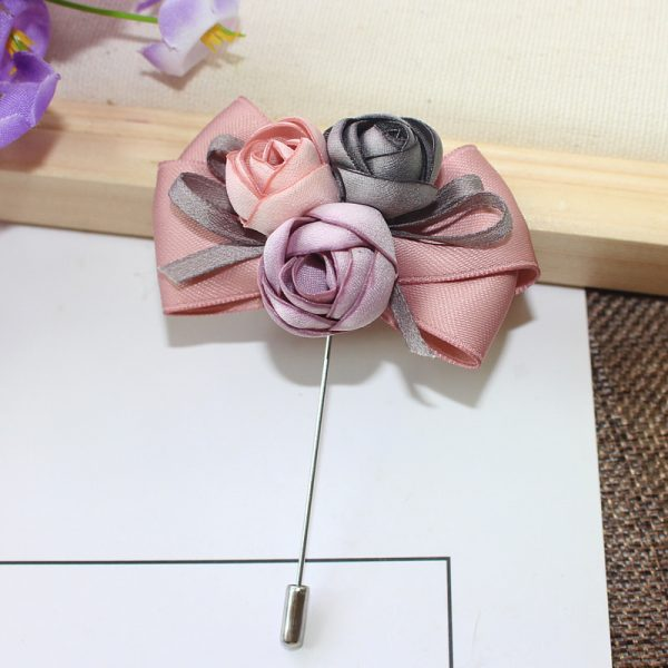 Buy Peach & Grey satin flower broach For Women - Office & You