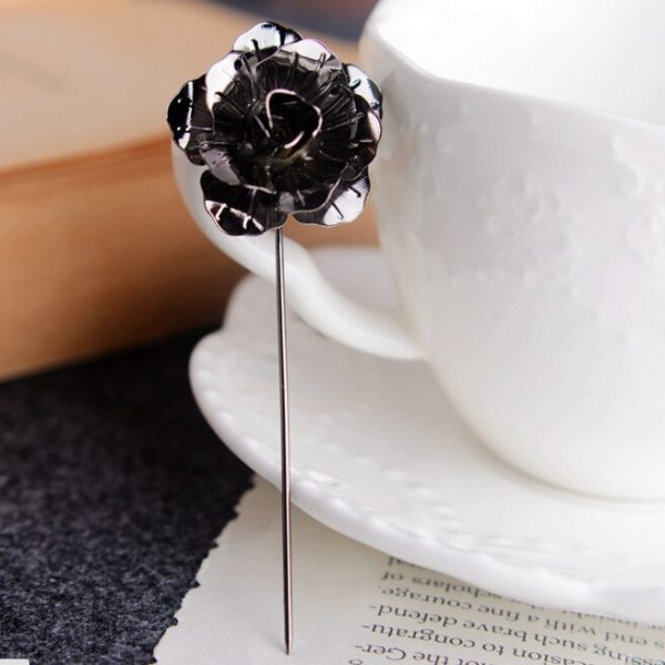 Buy Dark Grey rose flower metal broach For Women - Office & You