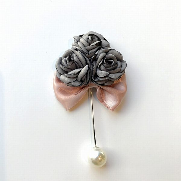 Buy Grey flower bunch with pink satin bow broach For Women - Office & You