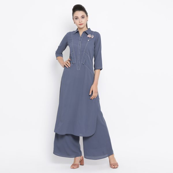 Buy Stone Blue Kurta With Side Pocket Work Wear For Women
