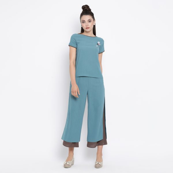 Buy Teal Boat Neck Top With Contrast Piping Office Wear For Women