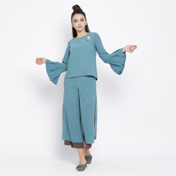 Buy Teal Top With Pleated Cuff Work Wear For Women - Office & You