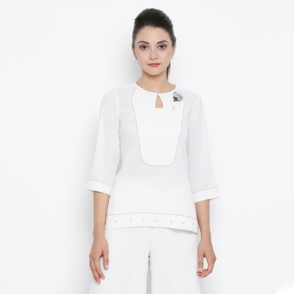 Buy White Crepe Top With Blue Top Stitching Work Wear For Women