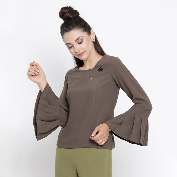 Buy Beige Top With Pleated Cuff Western Formals For Women