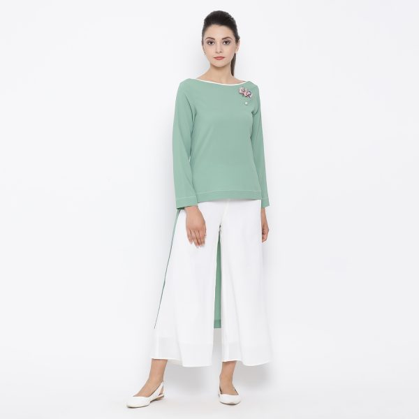 Buy Green Asymmetrical Top With White Piping Power Dressing For Women