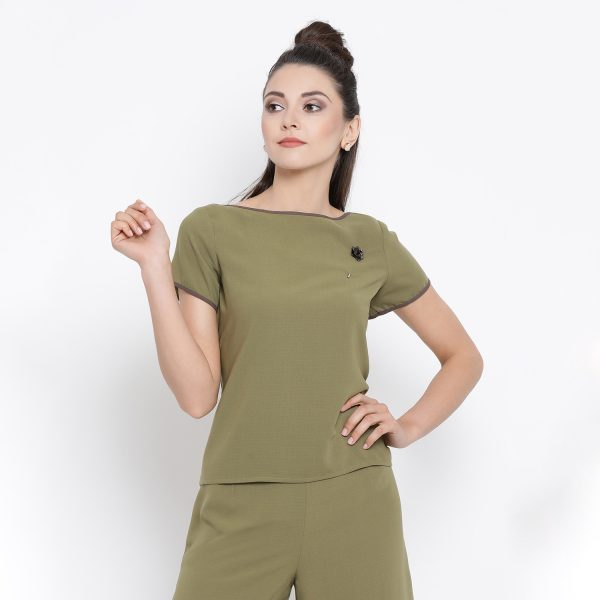 Buy Olive Boat Neck Top With Brown Piping Work Wear For Women
