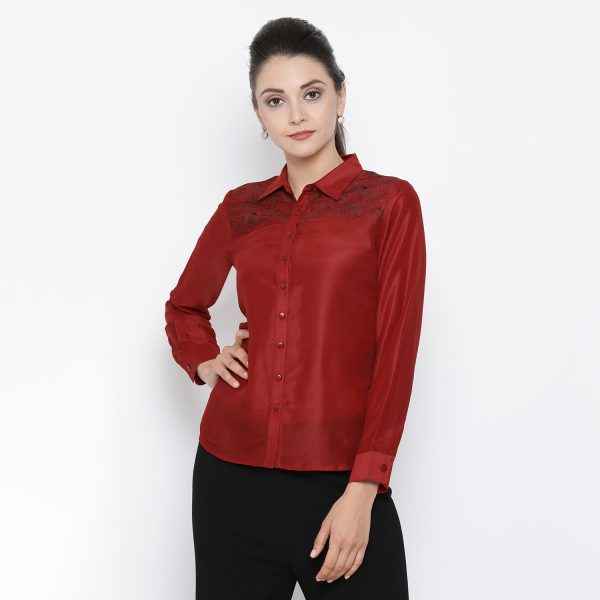 Buy Red Top With Thread Embroidery On Yoke Office Wear For Women
