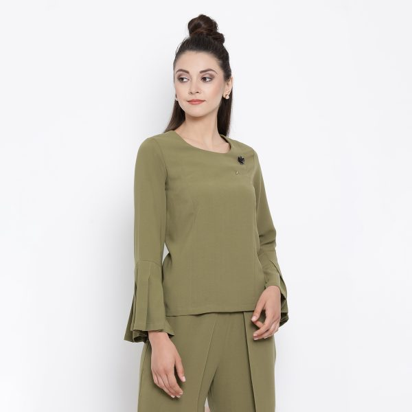 Buy Olive Top With Pleated Cuff Office Wear For Women - Office & You
