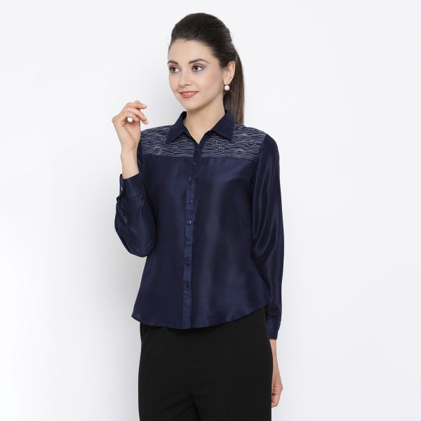 Buy Blue Top With Embroidery On Yoke Power Dressing For Women