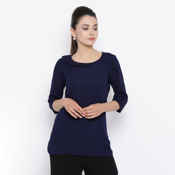 Buy Blue Top With Frill Collar Western Formals For Women - Office & You