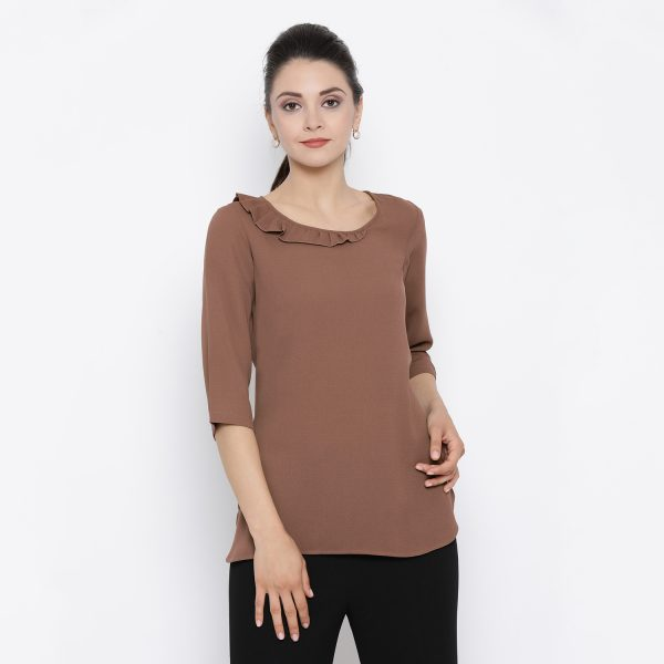 Buy Rosewood Colour Top With Frill Collar Western Formals For Women