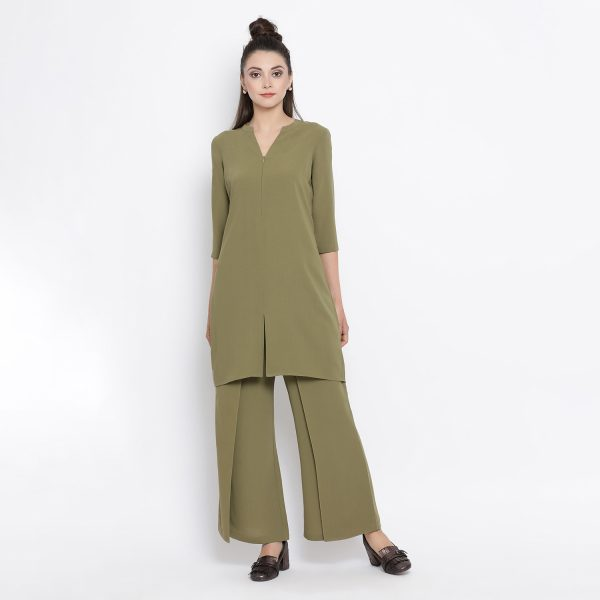 Buy Olive Asymmetrical Tunic Work Wear For Women - Office & You