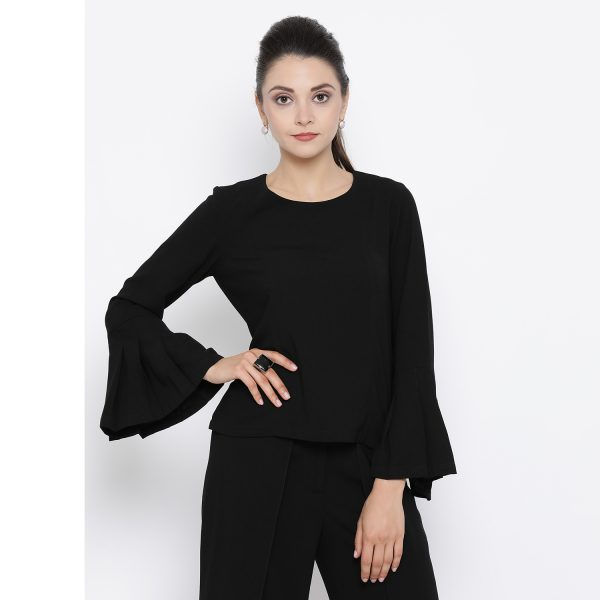 Buy Black Top With Pleated Cuff Power Dressing For Women - Office & You