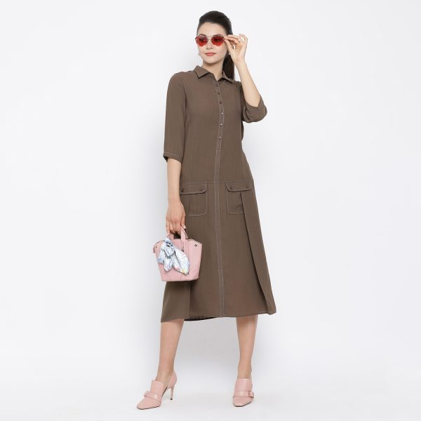Buy Dark Brown Dress With Flap Pocket Office Wear For Women