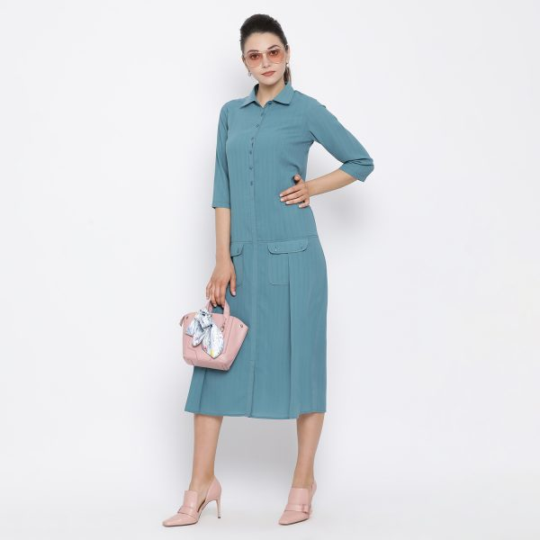 Buy Teal dress with flap pocket Office Wear For Women - Office & You